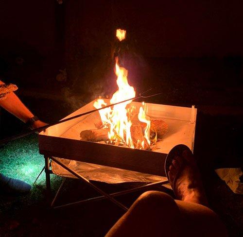 Backyard campfire with smores.