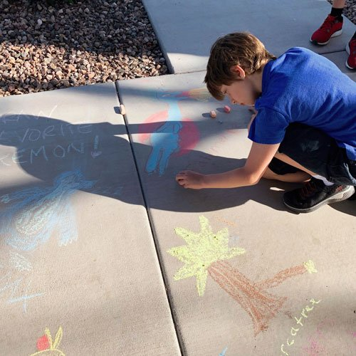Chalk the walk with inspiring words or artwork.