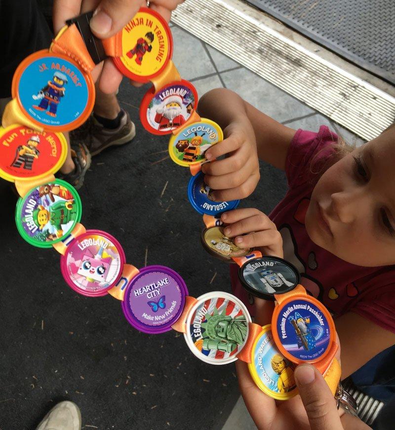 Pop badges on a lanyard